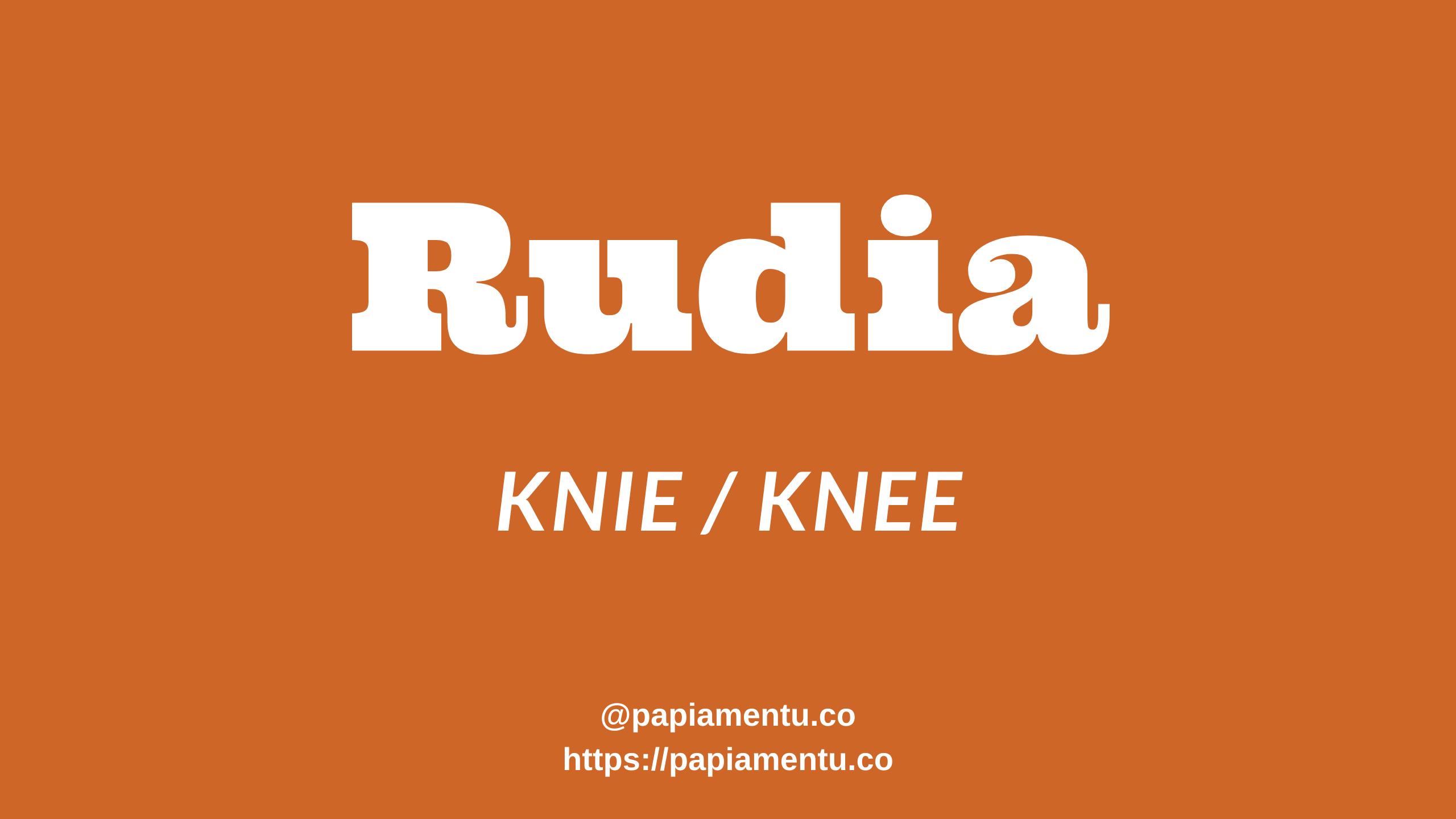Knie in het papiaments, rudia